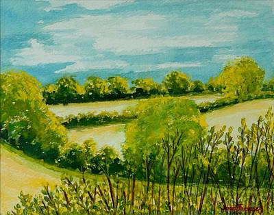 Suffolk Painting - August Landscape Suffolk by Joan Thewsey
