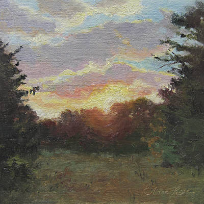 Meadows Painting - August Sunrise Plein Air by Anna Rose Bain