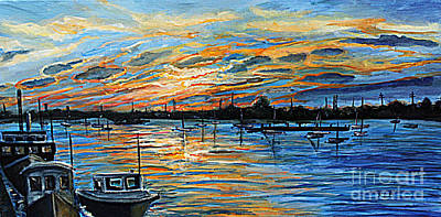 Cape Cod Painting - August Sunset In Woods Hole by Rita Brown
