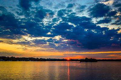 August Sunset Over Lake Nagawicka Art Print