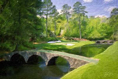 Tiger Painting - Augusta National Hole 12 - Golden Bell 2 by Scott Melby