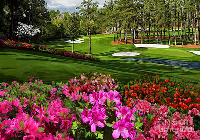 Augusta Painting - Augusta Azaleas 16th And 6th by Tim Gilliland