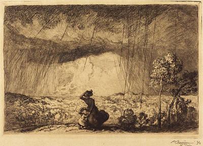 Storm Drawing - Auguste Lepère, Storm On The Dune, Vendee Lorage Sur La by Quint Lox