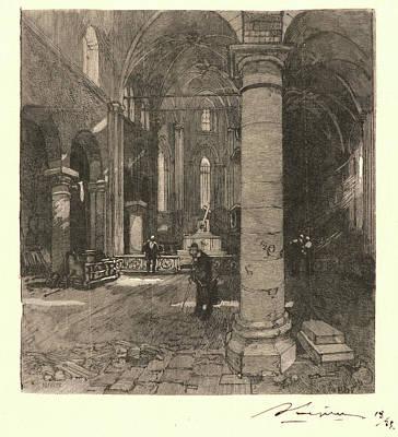 Auguste Louis Lepère French, 1849 - 1918. Church Interior Art Print