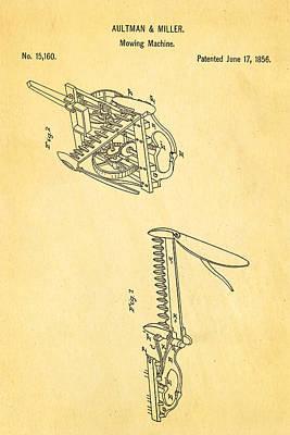 Mower Photograph - Aultman Mowing Machine Patent 1856 by Ian Monk