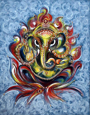 Devotional Painting - Aum Ganesha by Harsh Malik