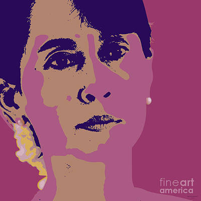 Digital Art - Aung San Suu Kyi by Jean luc Comperat