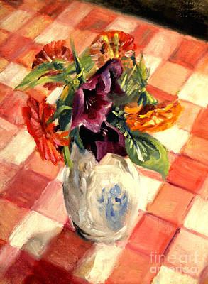 Aunt Alma's Flowers - 1944 Art Print