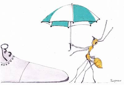 Drawing - Ant With Umbrella by Dan Twyman