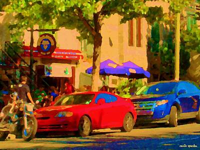 Two Bikes Painting - Aupres De Ma Blonde Resto Bar Terrasse Rue St Denis Montreal Cafe Street Scene Art Carole Spandau by Carole Spandau