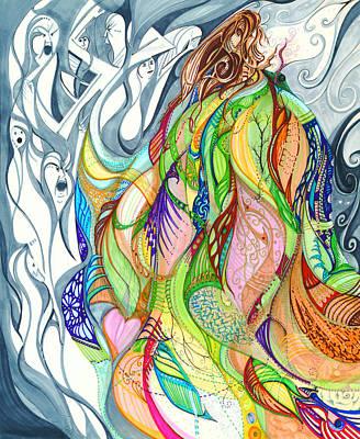 Drawing - Auralia's Cloak by Karen  Renee