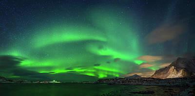 Aurora Borealis Above Ramberg, Lofoten Art Print