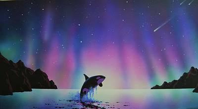 Aurora Borealis And Whale Art Print