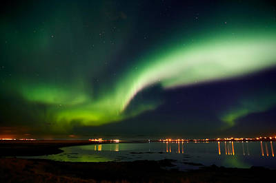 Aurora Borealis In The Sky, Alftanes Art Print by Panoramic Images