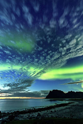 Photograph - Aurora Borealis In Twilight In Norway by Sa*ga Photography
