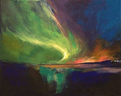 Winter Night Painting - Aurora Borealis by Michael Creese