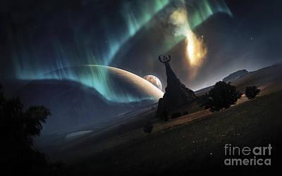 Digital Art - Aurora Borealis On An Imaginative by Tobias Roetsch