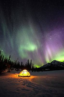 Photograph - Aurora Borealis Over Campsite In Alaska by Chris Madeley