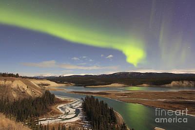 Aurora Borealis Over The Yukon River Art Print