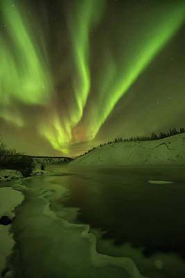 Photograph - Aurora Borealis Over The Yukon River by Robert Postma / Design Pics