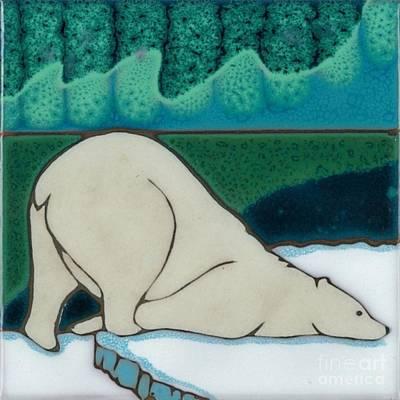 Aurora Borealis Polar Bear Art Print by Elany  Prusa
