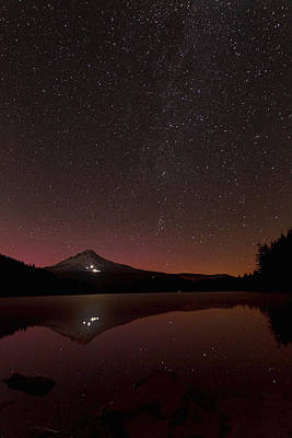 Photograph - Aurora Glow Over Trillium Lake by Wes and Dotty Weber