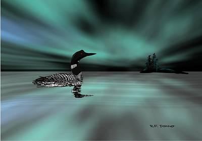 Loon Digital Art - Aurora Loon by Bob Donner