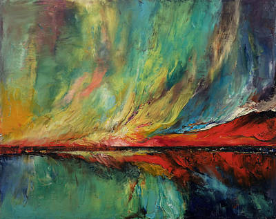 Abstract Realist Landscape Painting - Aurora Dance by Michael Creese