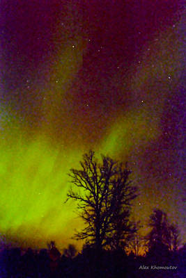 Winter Night Mixed Media - Aurora Northern Lights by Alex Khomoutov