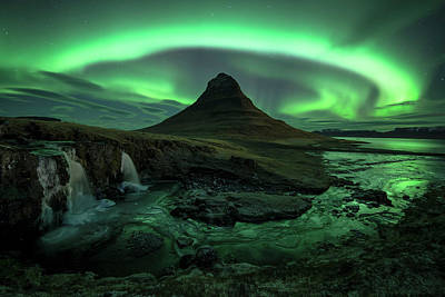 Green Color Photograph - Aurora Over Kirkjufell, Iceland by David Clapp
