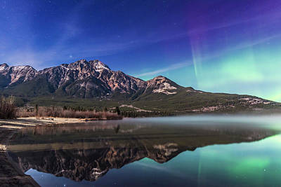 Moonlit Night Photograph - Aurora Over Pyramid Mountain by Alan Dyer
