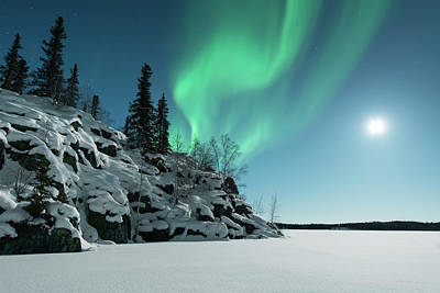 Photograph - Aurora Over Small Snow Covered Hill by Michael Ericsson