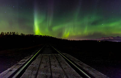 Aurora Railroad Tracks Art Print by Sam Amato
