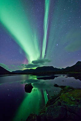 Winter Night Photograph - Aurora Raising II by Frank Olsen