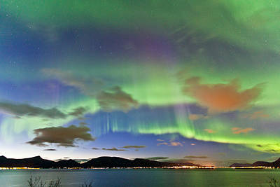 Winter Night Photograph - Auroras At Sortland Strait II by Frank Olsen