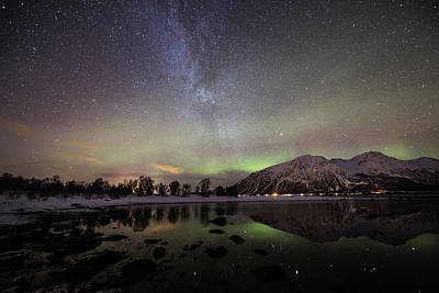 Aurora Borealis Photograph - Auroras With Milky Way by Frank Olsen