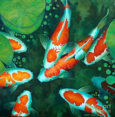 Painting - Auspicious Koi Pond 9 by Edoen Kang