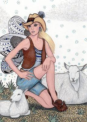 Zia Drawing - Aussie Fairy In The Outback -- Tending Her Sheep by Sherry Goeben