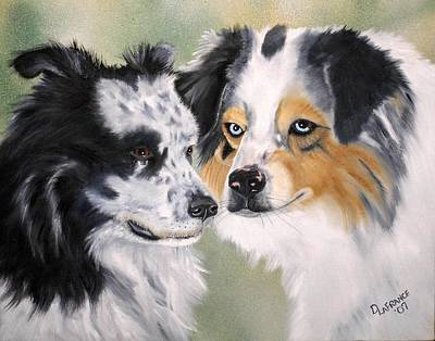 Canine Painting - Aussies by Debbie LaFrance