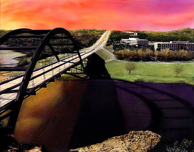 Austin 360 Bridge Art Print by Marilyn Hunt