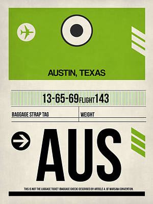 Town Mixed Media - Austin Airport Poster 1 by Naxart Studio