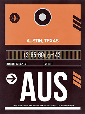 Austin Mixed Media - Austin Airport Poster 2 by Naxart Studio