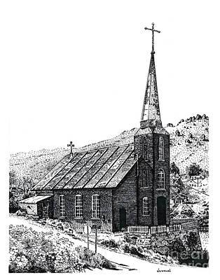 Pointillist Drawing - Austin Church by Joseph Juvenal