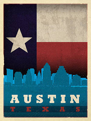 Skyline Mixed Media - Austin City Skyline State Flag Of Texas Art Poster Series 010 by Design Turnpike