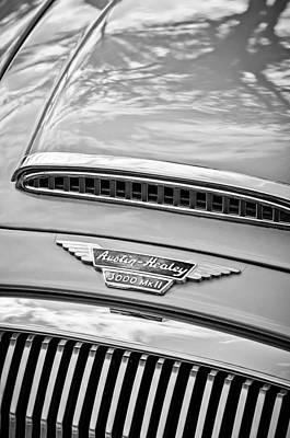 Photograph - Austin-healey 3000 Mk II Hood Emblem -0567bw by Jill Reger