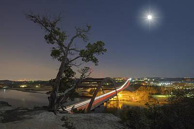 Austin Images - Full Moon Setting Over The 360 Bridge 2 Art Print