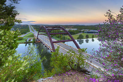 Austin Images - Pennybacker Bridge Looking West At Sunrise Art Print by Rob Greebon