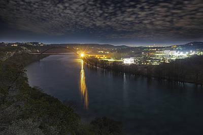 The 360 Bridge And Austin Texas Lit By The Full Moon Art Print