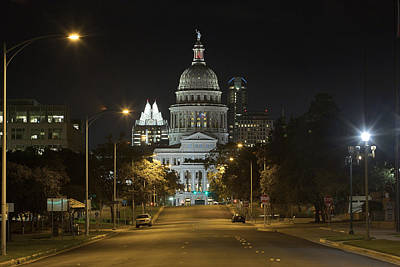 Austin Images - The Texas State Capitol At Night Looking South Art Print by Rob Greebon