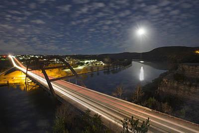 Austin Images - Full Moon Setting Over The 360 Bridge Art Print